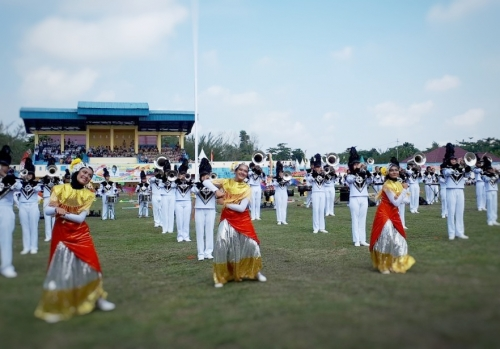 Marching Band Bahana Cendana Kartika Duri dan Perpustakaan Tenas Efendi Ikut Meriahkan Hardiknas Bengkalis
