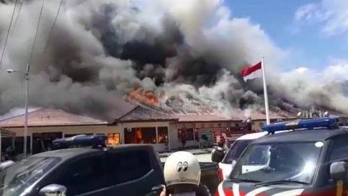 Mapolres Lampung Selatan Terbakar, BB Kejahatan di Ruang Satreskrim Ludes