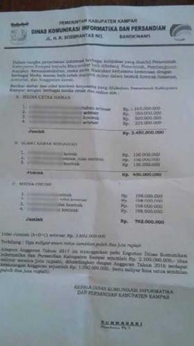 Wuih, Surat Kontrak Media Berkop Diskominfo Kampar Jadi Viral, Ternyata Ini Isinya