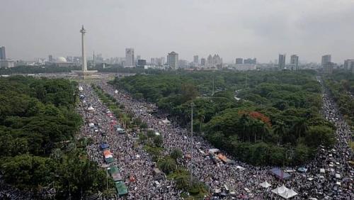 Reuni 212, Jutaan Umat Islam Padati Kawasan Monas Hingga Sarinah, Begini Penampakannya dari Udara