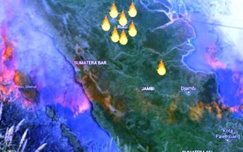 Pagi Ini, Lima Titik Api di Riau Terpantau Satelit, Tiga di Rokan Hilir