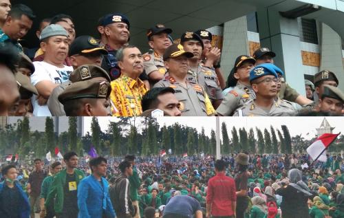 Syamsuar Temui Ribuan Mahasiswa Gabungan yang Menggelar Aksi Damai di Kantor Gubernur Riau