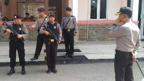 Polisi Bersenjata Lengkap Jaga Mapolres Dumai, 16 CCTv Pantau Gerakan Mencurigakan