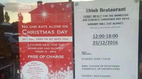 Agar Tak Ada yang Kelaparan di Hari Natal, Restoran Muslim di London Sediakan Makanan Gratis buat Tunawisma dan Lansia