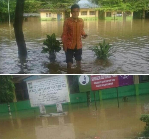 Desa Sungai Paku Kampar Siang Tadi Dilanda Banjir, Sekolah Diliburkan