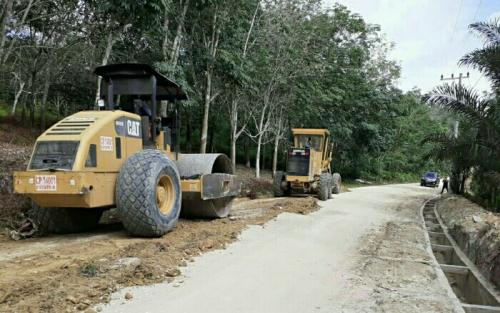 Dukung Pembangunan Infrastruktur Desa di Pelalawan, PT Musim Mas Bantu Alat Berat Greder dan Compactor