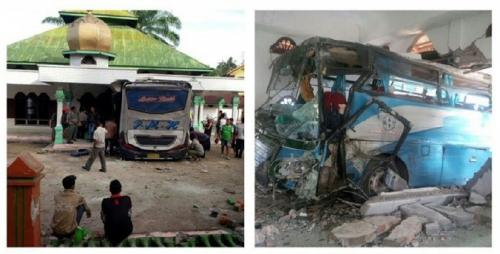 Bus PMH dari Pekanbaru Tabrak Masjid di Labusel, 2 Tewas, Termasuk Balita