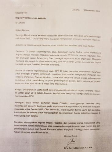 Diduga Surat dari Setya Novanto untuk Jokowi, Isinya Ungkit Jasa dan Takut-takuti