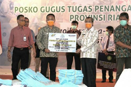 PTPN V dan Satgas BUMN Peduli Penanggulangan Covid-19 Bantu Puskesmas di Riau