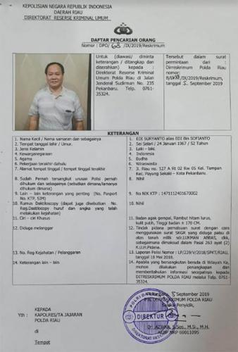 Polda Riau Tetapkan ES Sebagai DPO Terkait Penyerobotan Tanah Milik Lukman Abbas