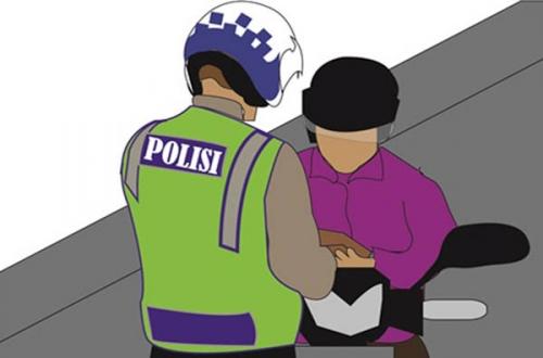 Distop Polisi, Cewek Rohil Ini Jatuhkan Sepeda Motor Lalu Kabur