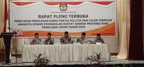 KPU Riau Tetapkan 65 Anggota DPRD Terpilih Periode 2019-2024, Ini Nama-namanya