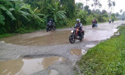 Sudah Banyak yang Terjatuh saat Berkendara, Begini Penampakan Jalan Provinsi di Inhil
