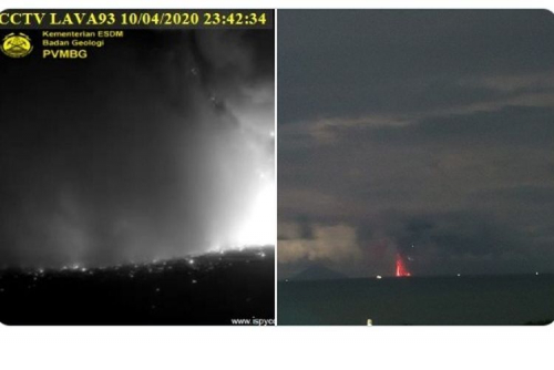 Gunung Anak Krakatau Meletus 2 Kali, Warga Kalianda Mengungsi