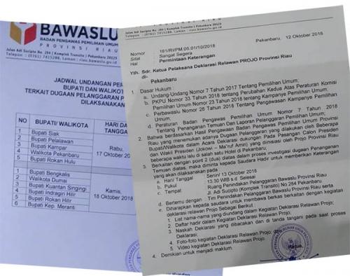Ikut Deklarasi Dukung Jokowi, 11 Kepala Daerah di Riau Dipanggil ke Ruang Penindakan Bawaslu