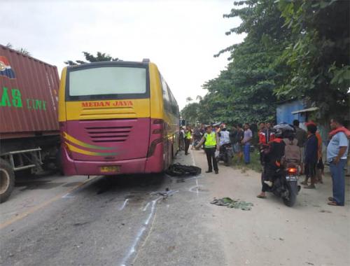 Pemuda di Pekanbaru Tewas Digilas Bus Medan Jaya, Pengemudi Lagi Dicari..