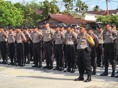 Pengamanan Pemilu 2019, Polres Kepulauan Meranti Gelar Apel Pergeseran Pasukan