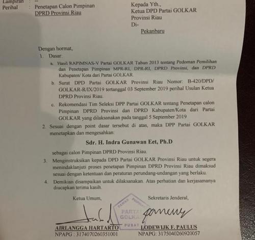 DPP Golkar Keluarkan SK Indra Gunawan Eet Sebagai Ketua DPRD Riau
