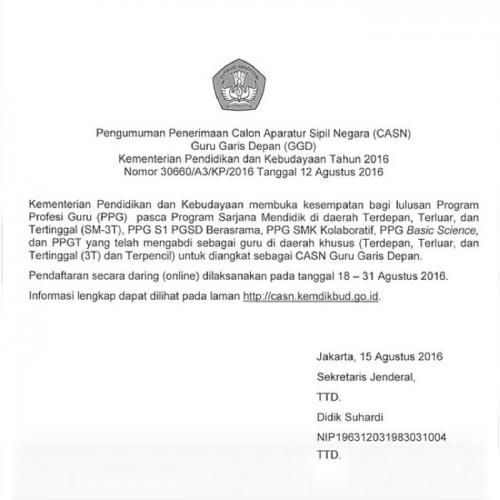 Kemendikbud Buka Penerimaan CPNS Guru untuk 93 Kabupaten, Pendaftaran 18-31 Agustus, Ini Persyaratannya