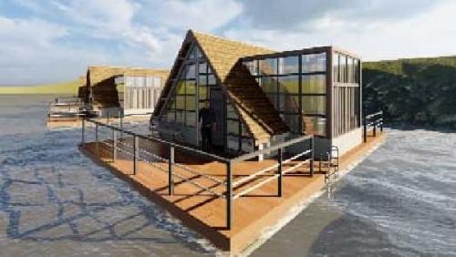Tim Kukerta Unri di Desa Pulau Gadang Desain Home Stay Apung di Objek Wisata Dermaga Tepian Mahligai