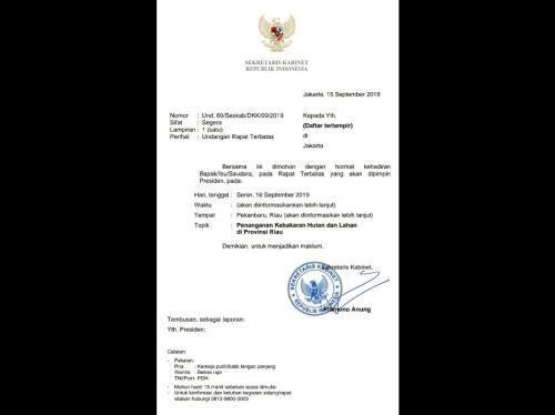 Surat Undangan Rapat Terbatas Presiden Jokowi di Riau Bahas Karhutla Beredar