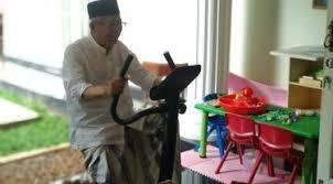 Maruf Amin Dayung Sepeda Statis Sebelum ke TPS