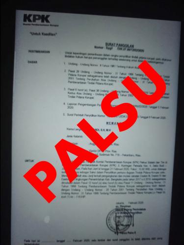 Soal Surat Pemanggilan Anggota DPRD Riau, Plt Jubir KPK: Itu Hoax