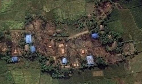 Gambar Satelit Buktikan Kekejian Militer Myanmar Bumi Hanguskan Desa-desa Muslim Rohingya, Umat Islam Terpaksa Bersembunyi di Hutan