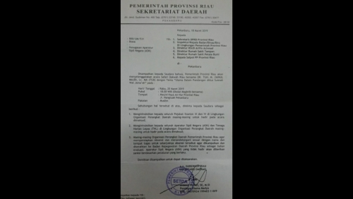 Bakal Diabsen, Pejabat Eselon, ASN hingga THL Pemprov Riau Diinstruksikan untuk Hadiri Safari Dakwah TGB di Pekanbaru