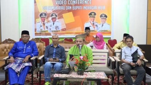 Sekdakab dan Ketua KPU Inhil Lakukan Vicon Pemilu 2019