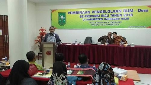 Sekdaprov Buka Pembinaan Pengelolaan BUMDes se Riau Tahun 2018 di Inhil