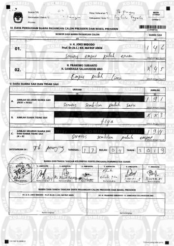 Perolehan Suara di TPS 03 Taba Ditukar, pada C1 Prabowo 146, Jokowi 45, di Data KPU Sebaliknya