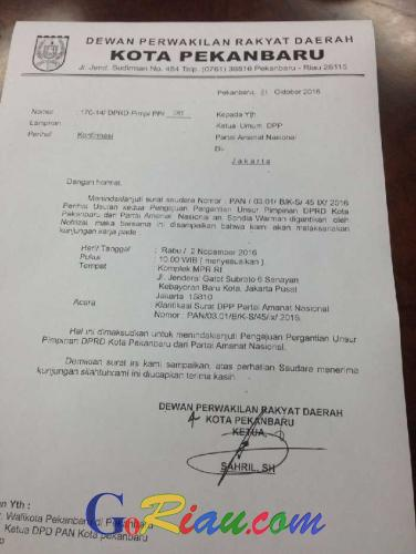 Aneh! Bahas PAW Pimpinan Dewan dari PAN, Ketua DPRD Pekanbaru Kirim Surat ke MPR