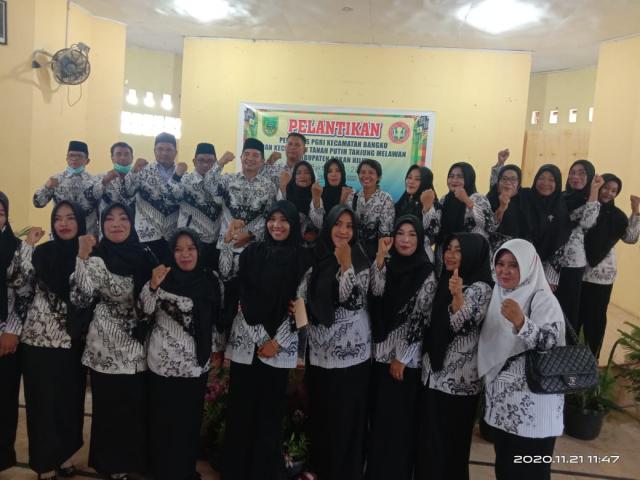 Pengurus PGRI Bangko dan Tanah Putih Tanjung Melawan Periode 2020-2025 Dilantik