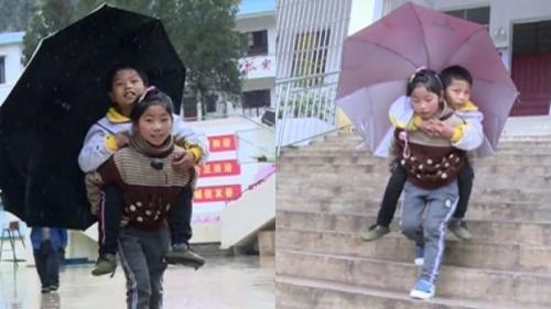 Mengharukan, Gadis Kecil Ini Setiap Hari Gendong Kakaknya Penyandang Disabilitas ke Sekolah