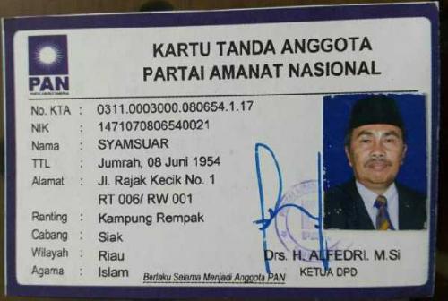 Riuh Syamsuar Diajukan Sebagai Calon Ketua Golkar Riau, Ini Jawaban Pihak PAN