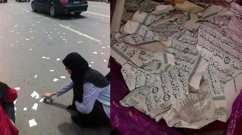 Astaghfirullah, Alquran Dirobek-robek dan Disebarkan Menggunakan Mobil di Jalan Raya