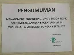 Pengelola Apartemen di Surabaya Larang Karyawan Shalat Jumat, yang Melanggar Dipecat