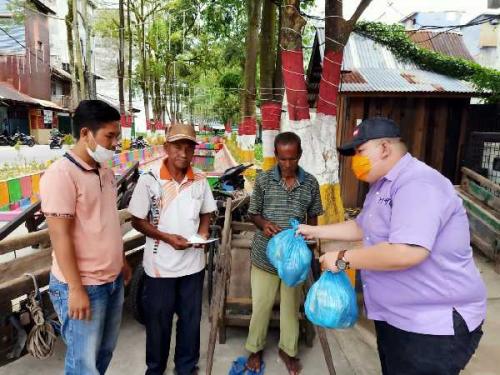 Hadapi Wabah Corona, Komunitas Pemuda Kreatif dan Aktif Bagi-bagi Masker dan Sembako Gratis di Bagansiapiapi
