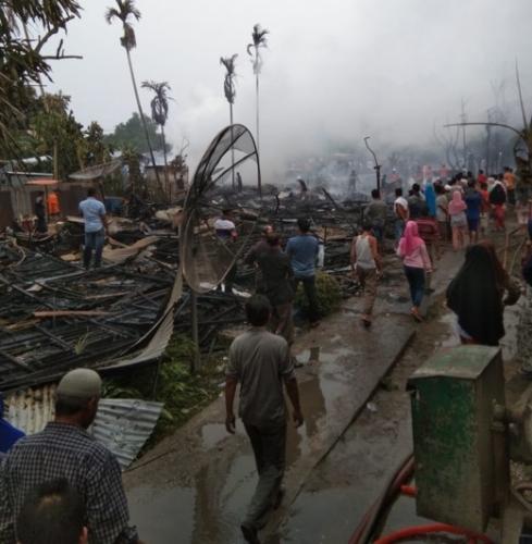 Kebakaran di Seberang Tembilahan, 15 Rumah dan 1 Gudang Kopra Ludes