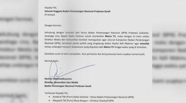Beredar Surat Imbauan BPN Prabowo-Sandi Boikot Metro TV