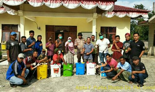 Cegah Covid-19 di Pelalawan Masif hingga Pelosok, Desa Pangkalan Gondai Semprot Disinfektan