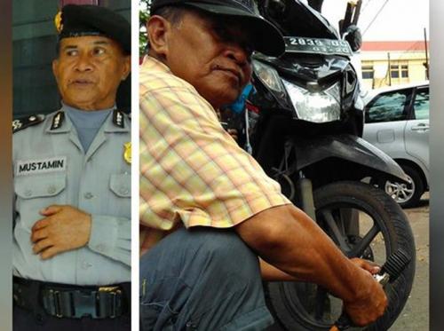 Nih... Satu Lagi Polisi Teladan! Aiptu Mustamin Sudah 20 Tahun Nyambi Jadi Penambal Ban