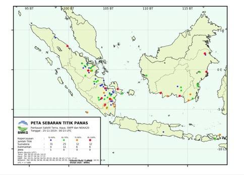 Meski Musim Hujan, 24 Titik Panas Kembali Bermunculan di Riau