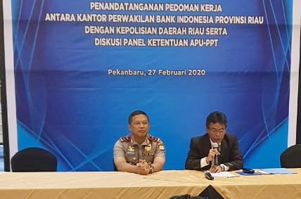Bank Indonesia dan Polda Riau Tandatangani Nota Kesepahaman Pedoman Kerja