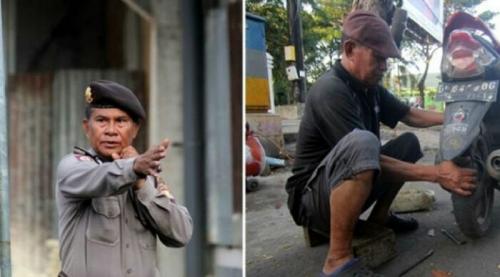 Ada Satu Lagi Polisi Jujur, Aiptu Mustamin, 20 Tahun Jadi Penambal Ban