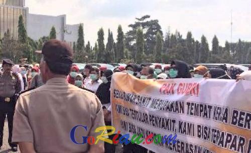 Duh, Ratusan Tenaga Medis Unjuk Rasa di Kantor Gubernur Riau