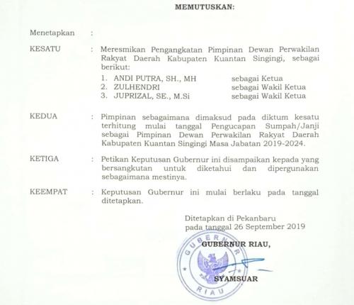 Pemkab Kuansing Desak DPRD Segera Tuntaskan APBD-P 2019, Sekda: Tak Ada Alasan untuk Tidak Memprosesnya