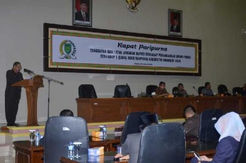 DPRD Inhil Gelar Paripurna Jawaban Bupati Terhadap Pandangan Umum Fraksi-fraksi