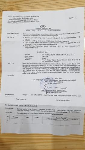 Surat Panggilan dari Polda Sumut untuk Koordinator Jubir BPN Prabowo-Sandi Beredar